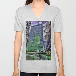 London Photography Canary Wharf Recollection Pop ART Unisex V-Neck