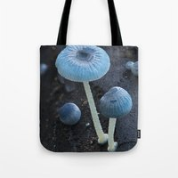 pixies Tote Bags featuring Pixies Parasol (Mycena interrupta) by Clusterpod
