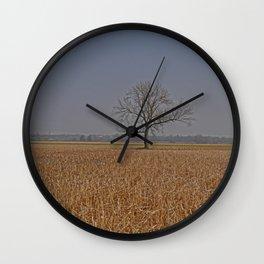 One Tree in a corn field Wall Clock