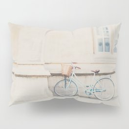 a mint green bicycle is the perfect way to travel around Cambridge Pillow Sham