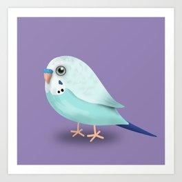 Cute illustration af a blue budgie Art Print