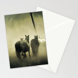 Herd of Horses Running Down a Dusty Path Stationery Cards