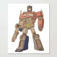 optimus prime Canvas Prints featuring Optimus Prime by colleencunha