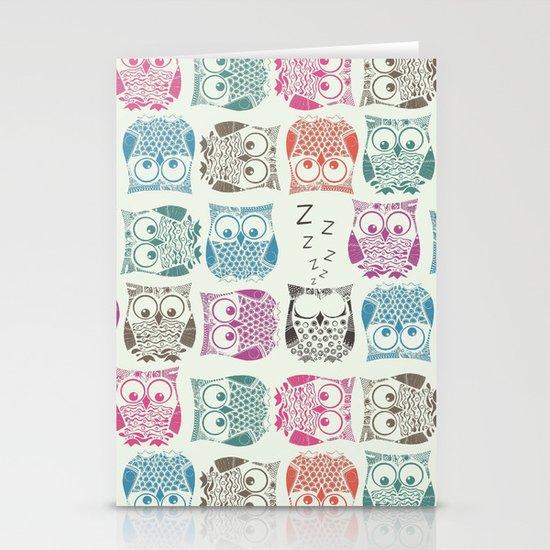 light sherbet owls Stationery Cards