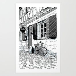 The Bicycle - Pen and ink drawing Art Print