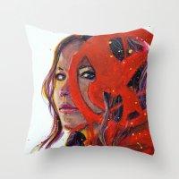 katniss Throw Pillows featuring Katniss by Alina Rubanenko