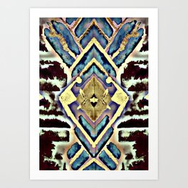 Empire Design in Black Blue and Gold Art Print