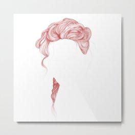 Red Curved Hair Metal Print