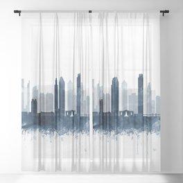 Philadelphia City Skyline Blue Watercolor by zouzounioart Sheer Curtain