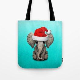 Christmas Elephant Wearing a Santa Hat Tote Bag