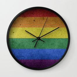LGBTQ Rainbow Pride Flag (Weathered) Wall Clock