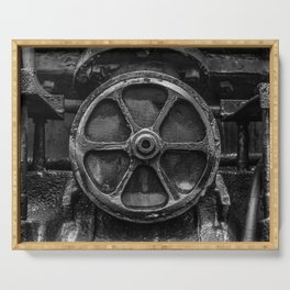 Trivial Pursuits Steam Train Detail Abstract Vintage Railroad Photography Black and White Serving Tray