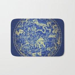 Yellow on Blue Infinity Vintage Astrology Star Map Bath Mat