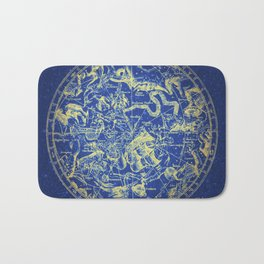 Yellow on Blue Infinity Vintage Astrology Star Map Bath Mat