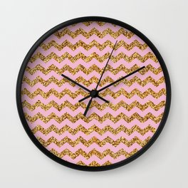 Misty Rose Gold Glitter Chevron Pattern Wall Clock