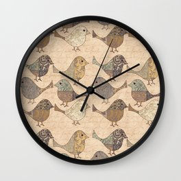 Nostalgic Autumn Patchwork Bird Pattern in warm retro colors #autumndecoration Wall Clock