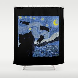 The Starry Cat Night Shower Curtain