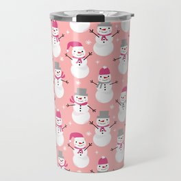 Snowman pattern illustration by charlotte winter snowflakes mittens scarves Travel Mug