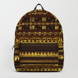 Ethnic African Golden Pattern on brown Backpack