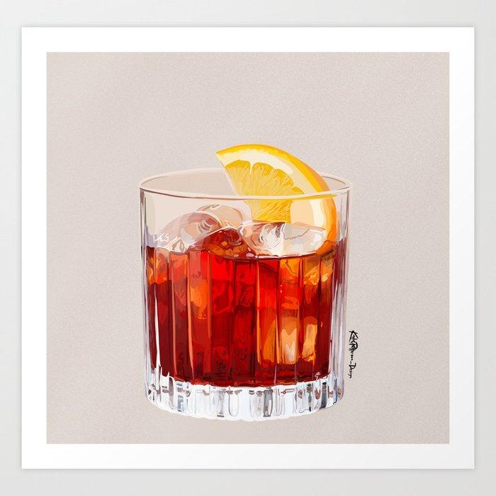 Negroni Cocktail Art Print