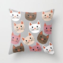 Cute Cat Faces Throw Pillow