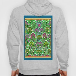 Teal-Green Colored Stylized Palmetto Floral Garden  Abstract Hoody