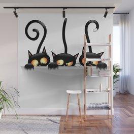 Three Naughty Playful Kitties Wall Mural