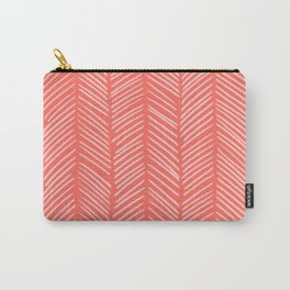 Coral Herringbone Carry-All Pouch