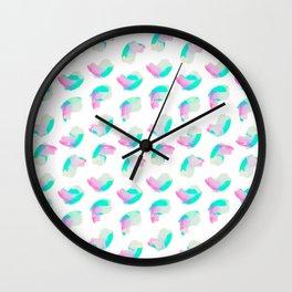 Artistic Pink Aqua Watercolor Palette Brushstrokes Wall Clock