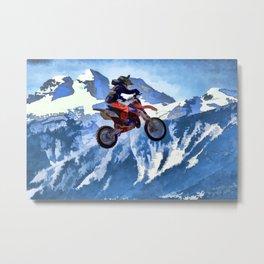 Mountain View-Motocross Rider Metal Print