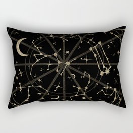 Gold Glitter Zodiac Constellations in Black Rectangular Pillow