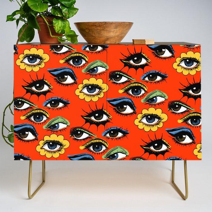 60s_Eye_Pattern_Credenza_by_Corinne_Elyse__Gold__Walnut