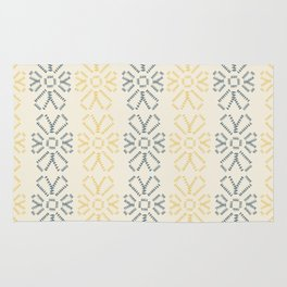 Embroidered flowers yellow and grey pattern Rug
