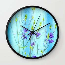 Dark Blue Delphinium Soft Oil Style Wall Clock