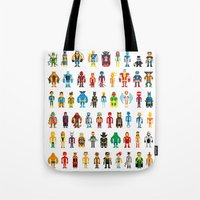 heroes Tote Bags featuring Pixel Heroes by Pahito