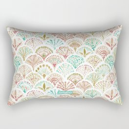 SHELL OUT Coral + Mint Mermaid Scales Rectangular Pillow
