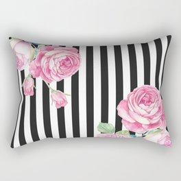 Black white blush pink watercolor floral stripes Rectangular Pillow