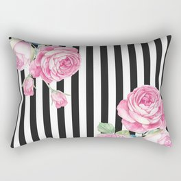 Black white blush pink watercolor floral stripes Rectangular Pillow