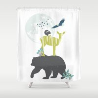 wildlife Shower Curtains featuring Wildlife Totem by Brooke Witt