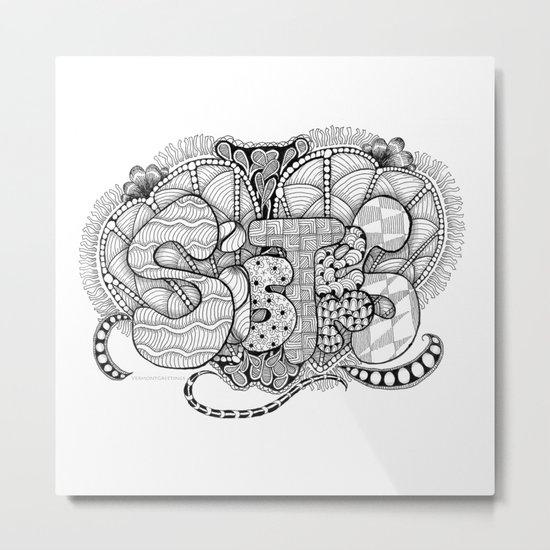 Zentangle Sisters Illustration Metal Print