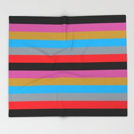 Colorful Stripes Black Pink Blue Gold Gray Red Throw Blanket