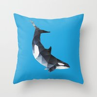 killer whale Throw Pillows featuring Killer Whale. by Diana D'Achille