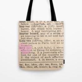 Love Dictionary Page With Sketchy Pink Heart Tote Bag