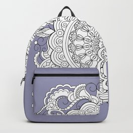 zen-tangle composition with mandalas and flowers Backpack