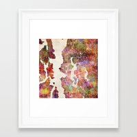seattle Framed Art Prints featuring Seattle by MapMapMaps.Watercolors