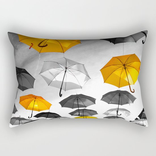 Yellow  is my color - Yellow and Black Umbrellas Rectangular Pillow