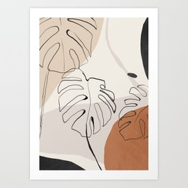Minimal Abstract Art- Monstera Art Print