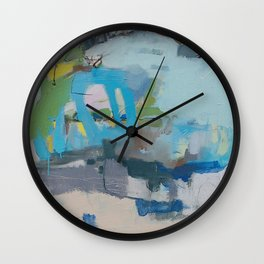 """""""riding the rail"""" abstract art in navy, lime, robin's egg and teal Wall Clock"""