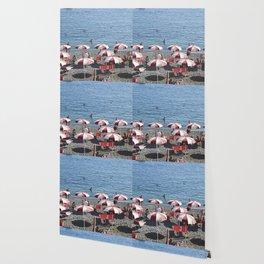 Red & White Striped Beach Umbrellas Wallpaper