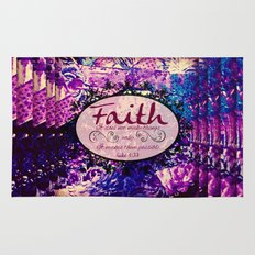 FAITH Colorful Purple Christian Luke Bible Verse Inspiration Believe Floral Modern Typography Art Rug